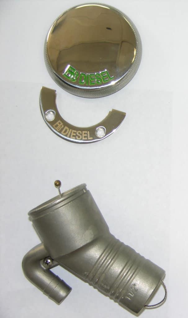 Fill- Diesel S/S Vented Deck 30~ 3-1/4″ Cap x 1-1/2″ Hose